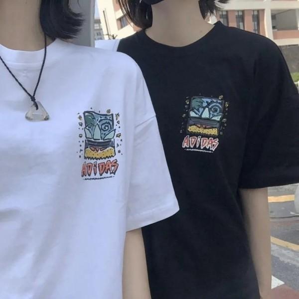 アディダスファッション半袖tシャツ夏コットン個性プリント白 黒tシャツカジュアル大きなサイズカップル服tシャツブランド