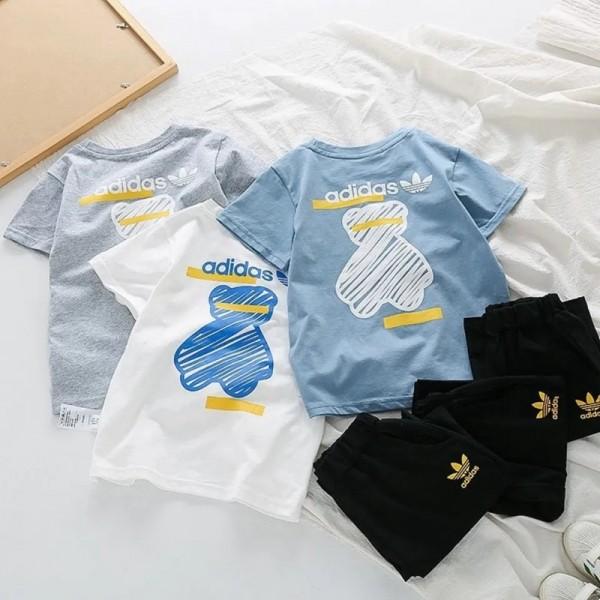 2021夏アディダス子供tシャツ半ズボンスーツブランドかわいい中小の子供 学生スポーツ風スーツファッション潮流 男女兼用 子供服