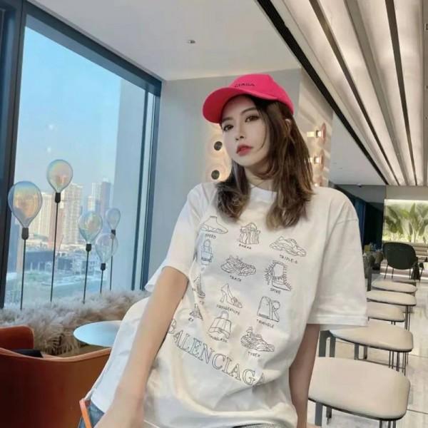 バレンシアガブランド半袖tシャツレディースファッション丸首tシャツメンズゆったり黒 白tシャツ人気大きなサイズT-shirt