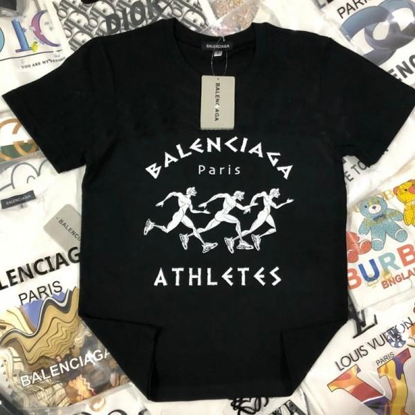 バレンシアガブランド高品質な親子服ファッション笑顔柄コットン子供Tシャツ2021春夏シンプル青春 半袖tシャツ男女兼用人気