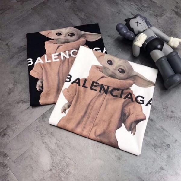 2021春夏バレンシアガスターウォーズの人のプリント半袖tシャツブランド男女兼用かっこいい白 黑カジュアルtシャツ丸首コットン