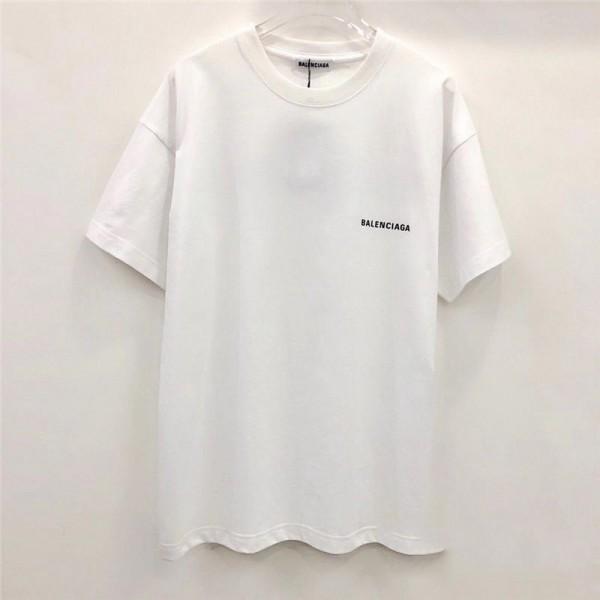 バレンシアガブランド半袖tシャツカジュアルBalenciaga英字ロゴtシャツコットン快適なカップルtシャツファッション