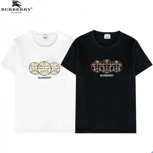 バーバリーブランド半袖tシャツ2021年春先カジュアルtシャツおしゃれコットン刺繍Tシャツ男女同型クルーネックトップス