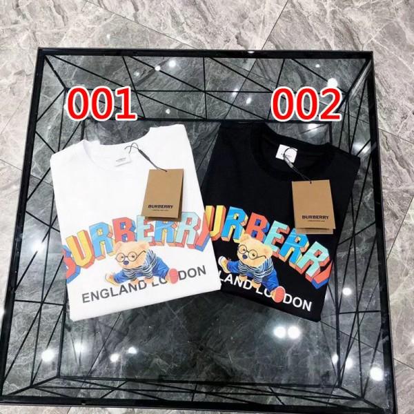 2021夏バーバリーブランドtシャツ欧米クマ絵柄コットンtシャツBurberry黒 白 男女 半袖Tシャツかわいい若者愛用カップルtシャツ