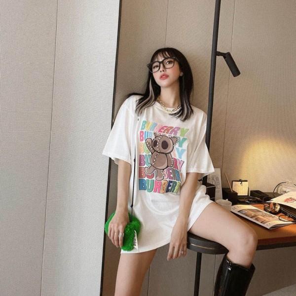 バーバリー女半袖tシャツブランドかわいい手作りダイヤクマ絵柄トップス気質ファッションTシャツゆったり2021夏Tシャツ