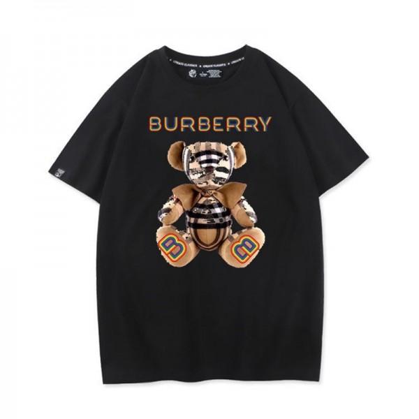 夏バーバリー半袖tシャツブランドレディースキャンディーカラーtシャツメンズカジュアルコットントップスかわいい熊柄ゆったりTシャツ