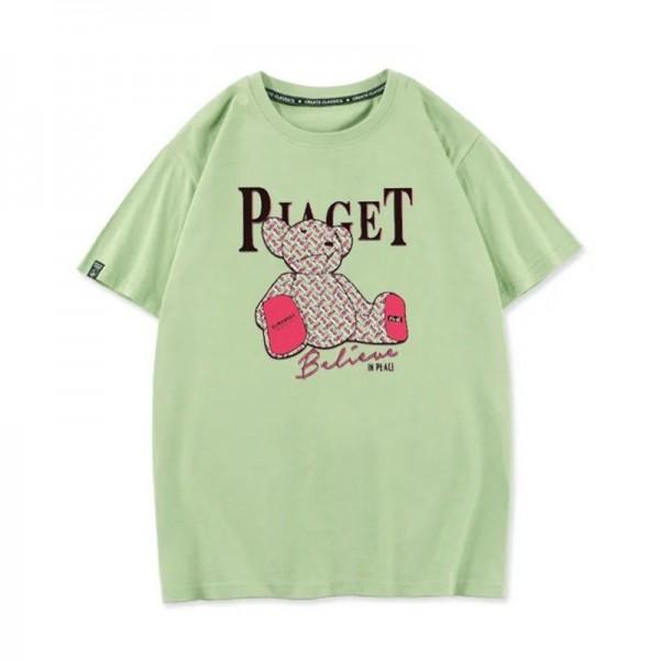 バーバリー半袖tシャツブランドパロディ男女兼用コットンカジュアル快適なtシャツ肩を落としキャンディー色ピンク熊柄tシャツ