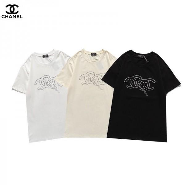 2021早春シャネル半袖tシャツシンプルレディース 丸首 トップスブランドおしゃれ メンズ 夏服ロゴ循環のアルファベットプリントかっこいいTシャツ