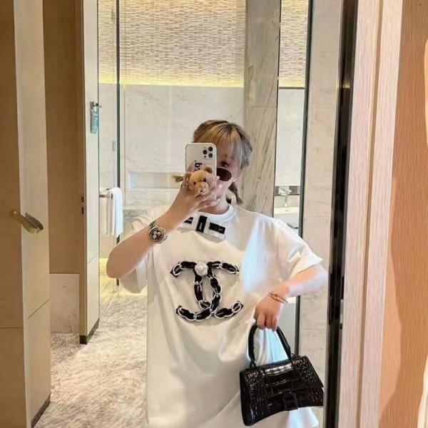 シャネル半袖tシャツブランド女2021春夏ゆったりtシャツ潮流ヒップホップ刺繍ロゴトップスおしゃれChanel白黒コットンTシャツブランド通販