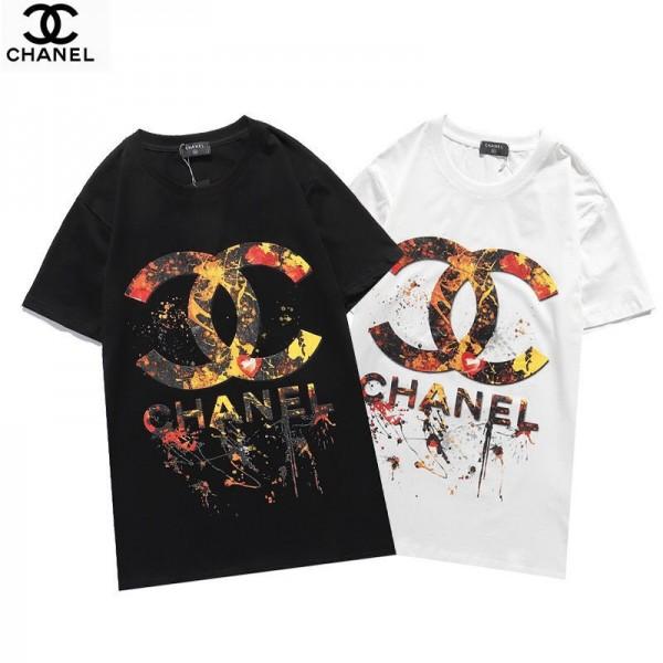 2021シャネル夏Tシャツブランド黒 白カップルtシャツカジュアル丸首 半袖T-shirtかっこいいChanelロゴプリントトップス