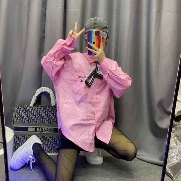 シャネルブランドおしゃれレディース長袖シャツChanelロゴプリントトップスファッションスカーフ付きゆったりカッターシャツ2021春秋