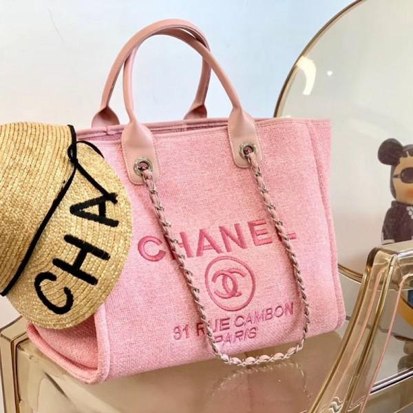 Chanelブランドキャンバスバッグ女性向けビーチバッグシャネルファッション大容量手提げバッグおしゃれお母さんバッグショッピングバッグ