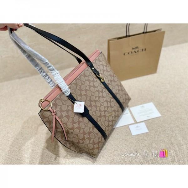 Coachコーチブランドレディースハンドバッグ大きなサイズ大容量 高品質な手提げバッグ経典ブランドロゴプリントカバン