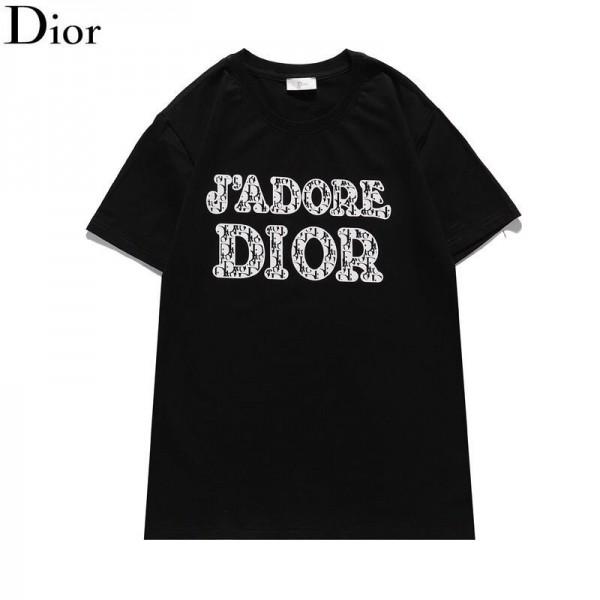 Diorディオール 半袖Tシャツブランド通販コットンtシャツレディースおしゃれ丸首トップスメンズ 夏ゆったりT-shirt2021新品