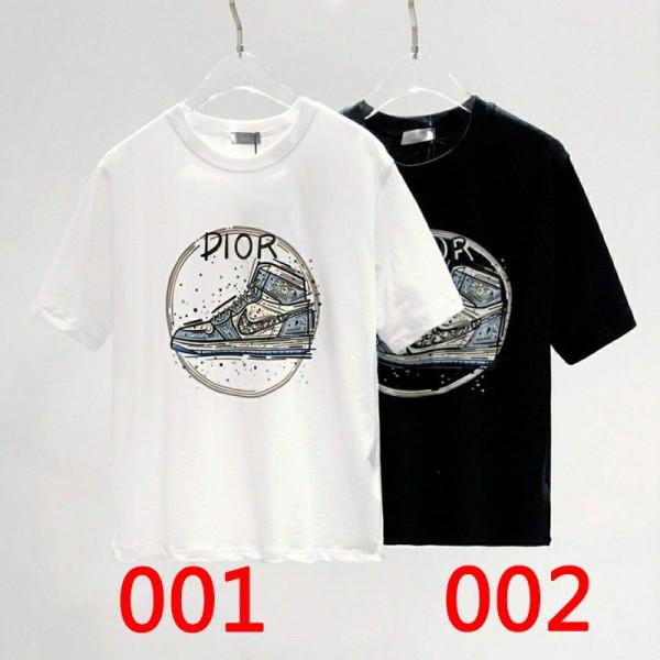 ディオール春夏コットンtシャツブランドナイキバスケットボール靴プリント半袖tシャツ大きいサイズ男女兼用人気ジェンダーレス 服 個性潮流カジュアルT-shirt