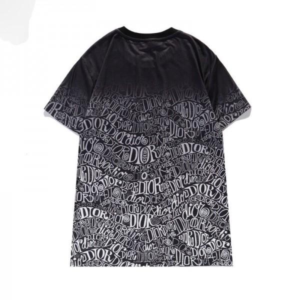 ディオールブランド夏TシャツコピーDior丸首半袖 コットンtシャツかっこいいゆったり男女同型tシャツブランド潮流 韓国風グラデーション満印logoプリント