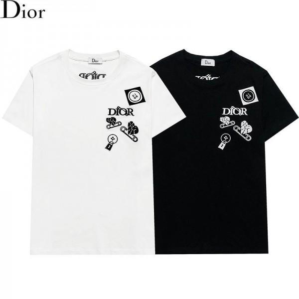 ディオールブランド半袖tシャツ2021早春ファッション男女同型tシャツおしゃれ刺繍カジュアルジェンダーレス服 黒白シンプル丸首トップス