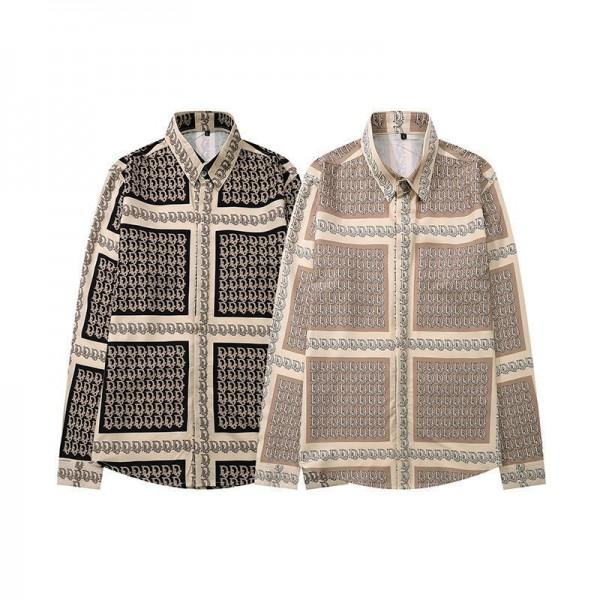 Diorディオールブランド長袖シャツ大人っぽいカジュアルシャツファッション男女同型ボタンダウン2021春秋ジャケット