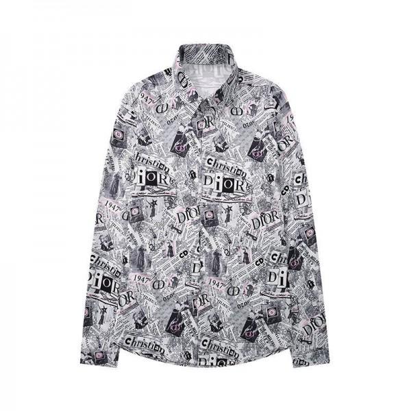 ディオールブランド長袖シャツメンズファッションオープンカラーシャツDior総柄ストリート系シャツ高品質なシャツ