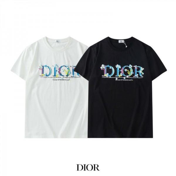 Diorディオール半袖tシャツブランドカジュアル丸首コットンTシャツ男女ゆったり白 黒トップス若者愛用カップルtシャツ