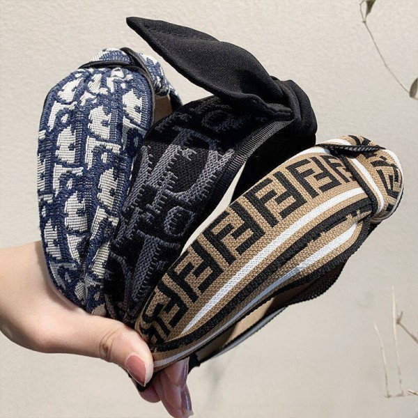 ブランドファッションディオールヘアバンドフェンディレディースオシャレヘアアクセサリー2点セット可愛いちょう結びカチューシャ