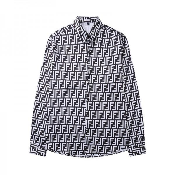 フェンディブランドシャツメンズ長袖ビジネスシャツカジュアルファッション高級シャツ男FF総柄オープンカラーシャツ