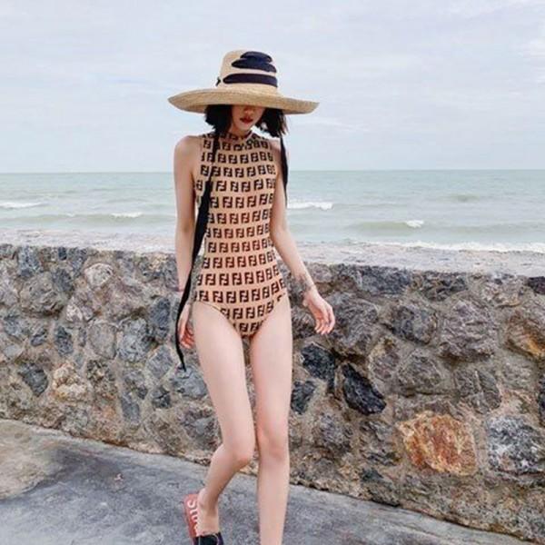 フェンディブランドスタイリッシュ女の子ビキニ気質 潮流 着やせ背明き水着小さい胸 保守的なワンピースビキニ