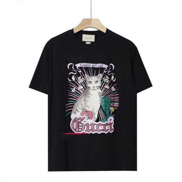 ハイブランドグッチtシャツ春夏コットントップスカジュアル男女兼用 半袖tシャツGucciかわいいネコ絵柄T-shirt