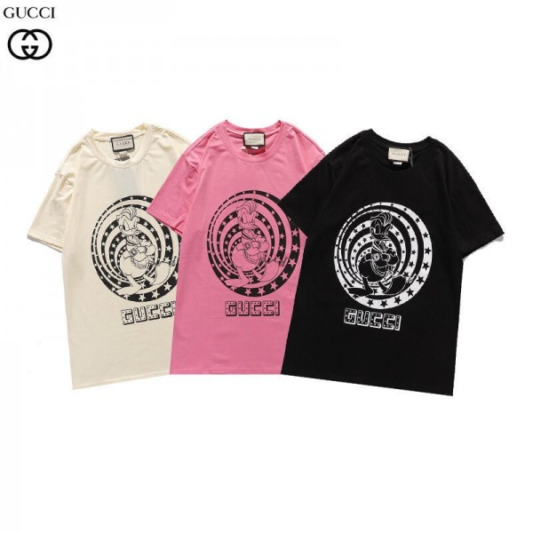 グッチGucciTシャツコピーブランドレディースメンズTシャツかっこいいドナルドダックプリントtシャツカジュアル半袖 コットン 丸首 トップス
