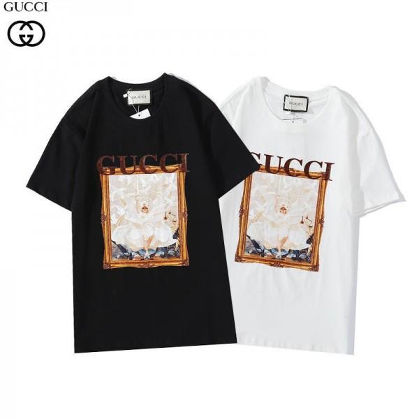 グッチ2021新品tシャツブランドエンジェル油絵プリントT-shirt男女同型コットン半袖Tシャツおしゃれ白黒 カジュアル丸首トップス