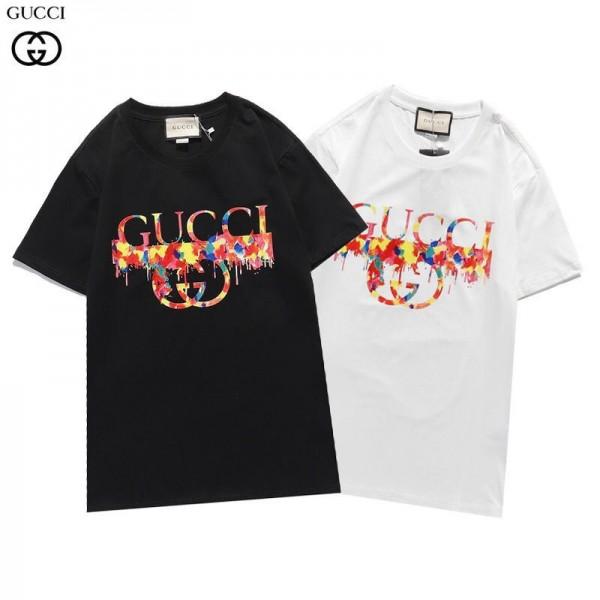 グッチブランド半袖tシャツ2021早春カップルコットンtシャツおしゃれ ゆったり新モデル潮流トップス黒 白シンプルTシャツ