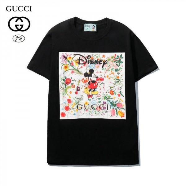 スター同型グッチ半袖tシャツG家連名ミッキーキャラクタープリントt-shirt夏の男女カップルtシャツかわいいゆったりコットントップス