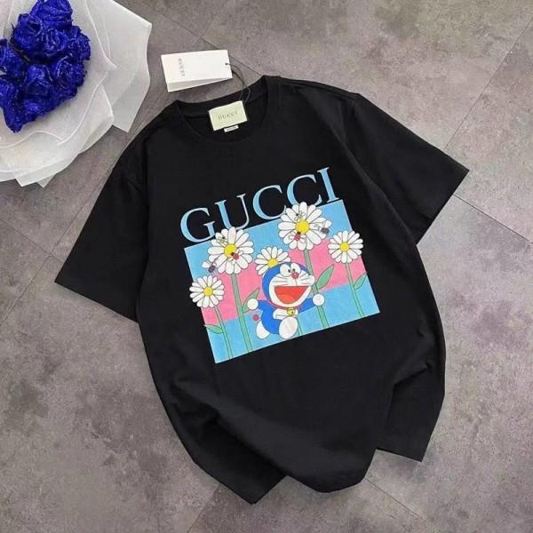 Gucciグッチブランド半袖tシャツかわいいドラえもん丸首tシャツ男女ゆったりT-shirt ポコニャン絵柄 純綿Tシャツ