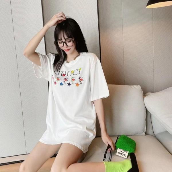 グッチブランドかわいいtシャツ5つ小さいドラえもん絵柄中長款tシャツ春夏コットン半袖Tシャツレディースおしゃれゆったりトップス