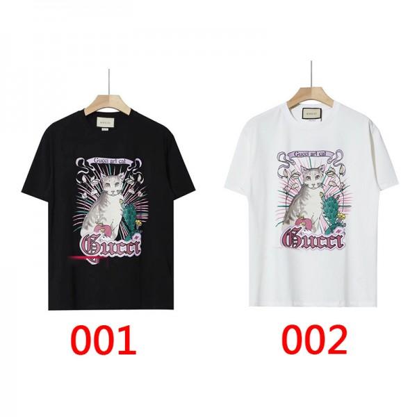 2021グッチブランドかわいい猫プリント半袖tシャツレディースおしゃれ丸首トップスカジュアルメンズコットン部屋服 若者愛用