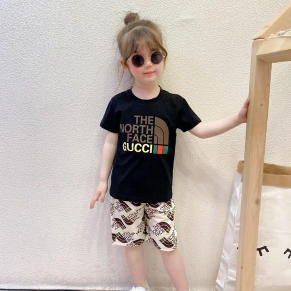 2021夏グッチファッション子供服 上下セットザ·ノース·フェイスブランド半袖tシャツハーフズボン子供の2点セット男の子女の子カジュアル子供服