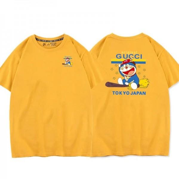 夏グッチ半袖tシャツハイブランド丸首かわいいドラえもんカップルtシャツコットンカジュアル快適なジェンダーレスTシャツ