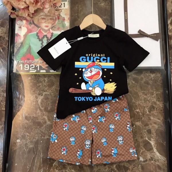 2021夏グッチかわいい子供服半袖tシャツズボンブランドファッションドラえもんプリントコットン2点セット男の子女の子