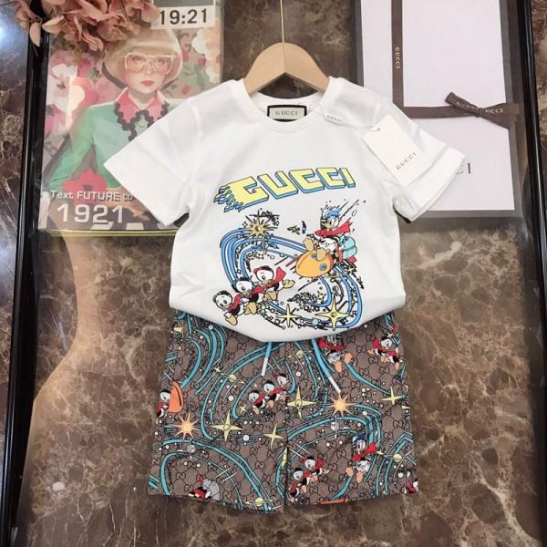 グッチブランド夏かわいい半袖tシャツ上下セット高品質のドナルドダックプリント子供服クールな洋風 男女 中大の子供2点セット