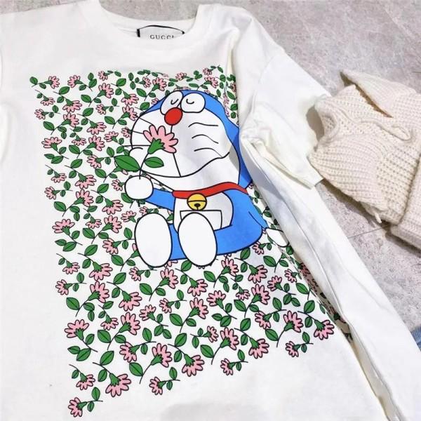 グッチブランドかわいいドラえもん柄tシャツ夏 半袖コットンtシャツ丸首ゆったりファッションtシャツ男女兼用