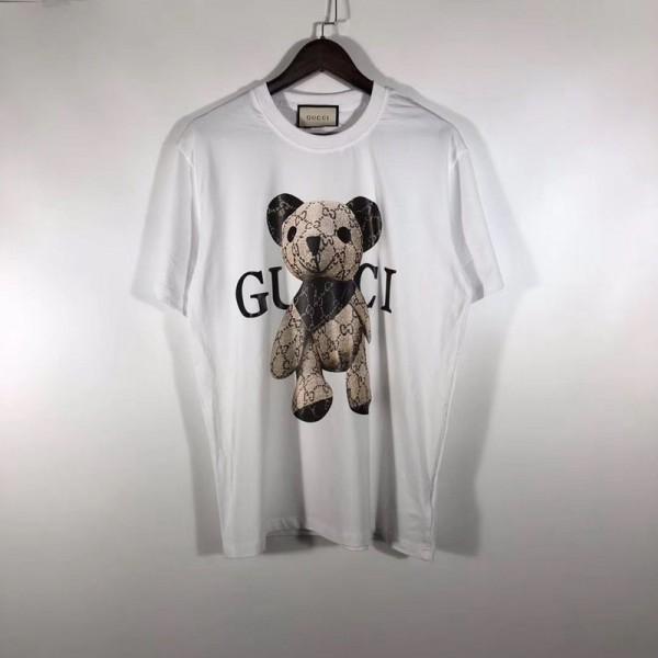 グッチブランドおしゃれ ゆったりTシャツかわいいクマ人形プリント半袖 コットン トップスレディーズメンズ丸首ストリート気質Tシャツユニセックス上質な素材 大きいサイズブランド