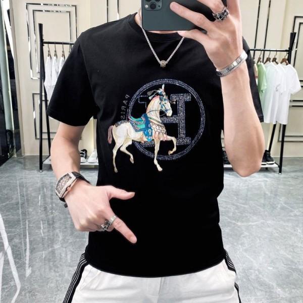 エルメスブランド半袖tシャツメンズ 夏 コットン丸首トップスカジュアル部屋服おしゃれ潮流Tシャツins2021ゆったりT-shirt