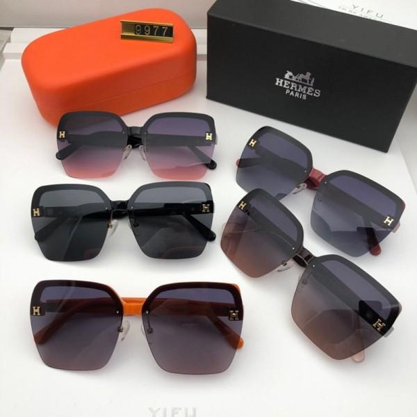 2021新品エルメスブランド偏光サングラス女性向け半枠 超軽量UVカットサングラスおしゃれ小顔 運転眼鏡サングラス