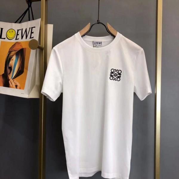 ロエベブランドTシャツレディースオシャレ半袖コットンTシャツメンズカジュアルトップス若者愛用Loewe刺繍ロゴ付きtシャツ