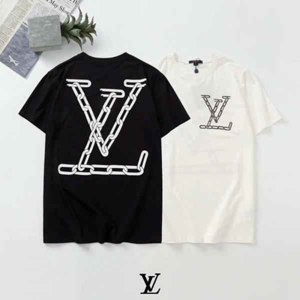 ルイヴィトン半袖tシャツブランドレディースメンズT-shirt チェーンLVロゴプリント夏物 服ゆったりコットン トップス