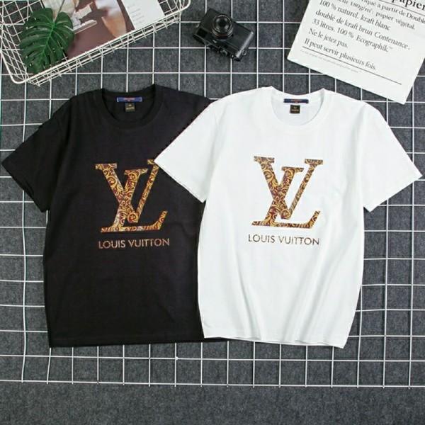 2021欧米LV春夏半袖tシャツブランドゆったりコットン トップス丸首黒 白人気TシャツパロディブランドシンプルT-shirt