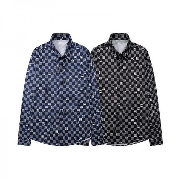 ルイヴィトンブランド長袖シャツメンズファッション格子縞シャツビジネスカジュアルシャツLV定番プリントボタンダウン