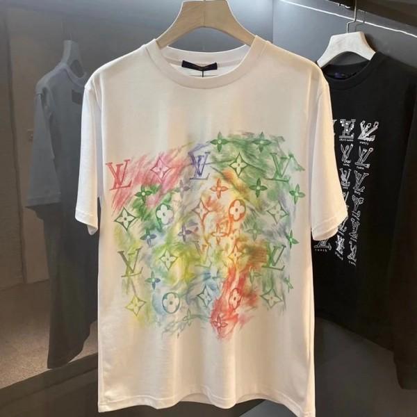 2021欧米ルイヴィトン半袖tシャツ新品LVグラフィティプリントTシャツ男女カジュアルコットンTシャツカップルins上着