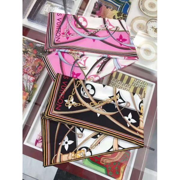 ルイヴィトンハイブランドシルクスカーフパロディ風レディース方形スカーフ春秋柔らかいソフトマフラー多機能ファッションアイテム