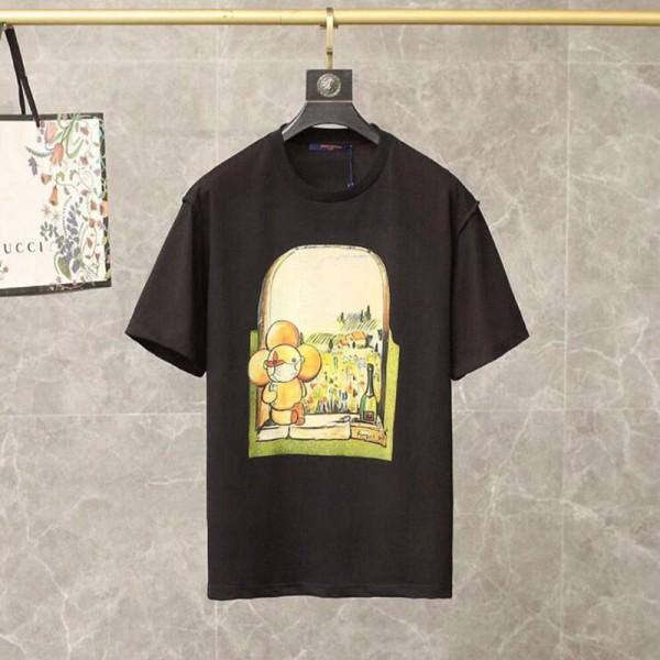 ルイヴィトンブランド半袖tシャツレディースかわいいLV経典人形柄プリントTシャツメンズゆったりとカジュアルコットンTシャツ夏物 服